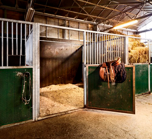 A vacant stable with the door open