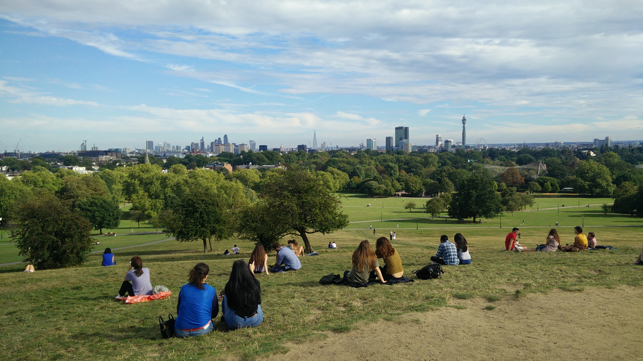 A view from a hill in a London park