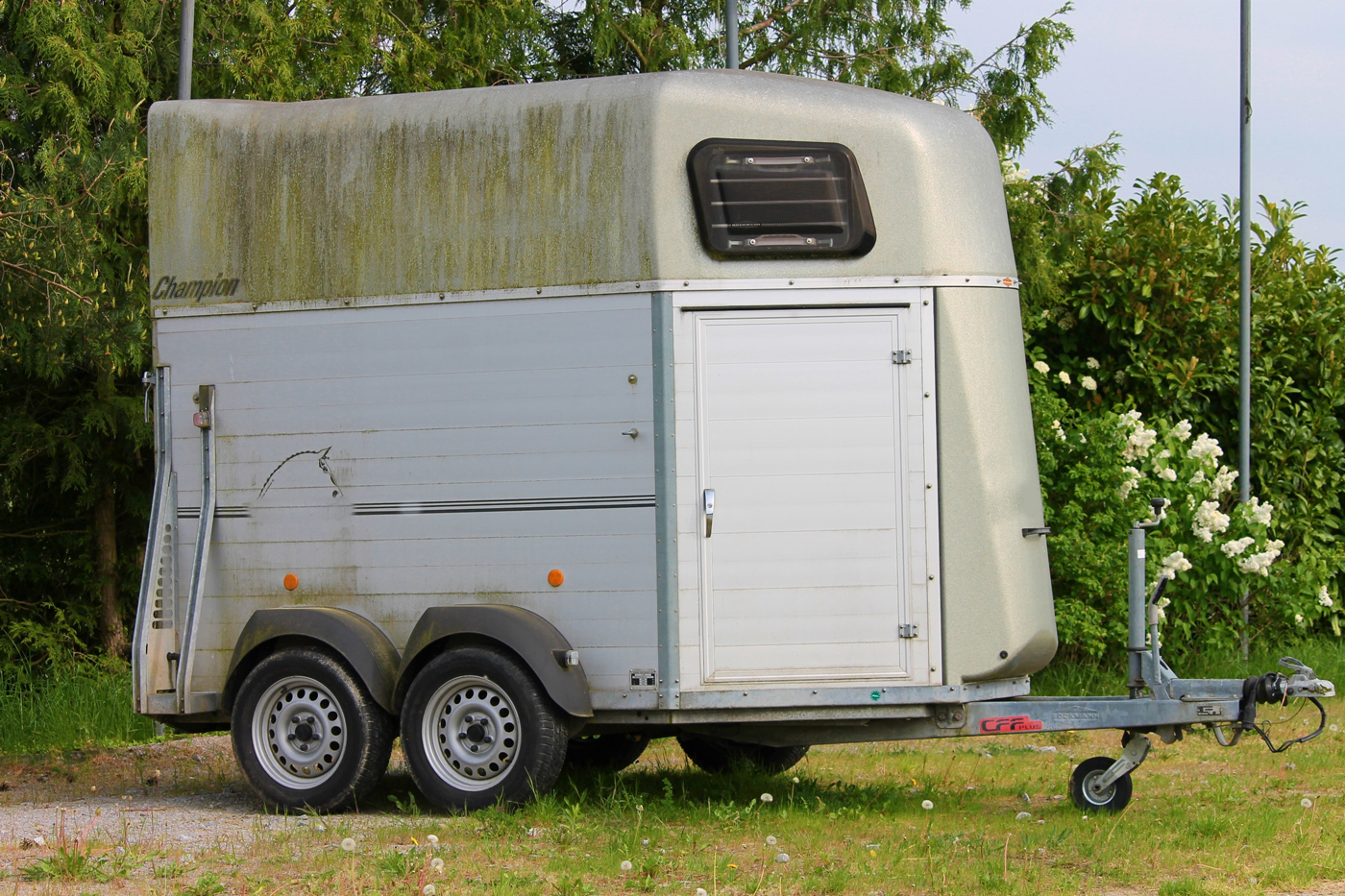 A horse trailer with a mossy upper section parked in a field with no shelter